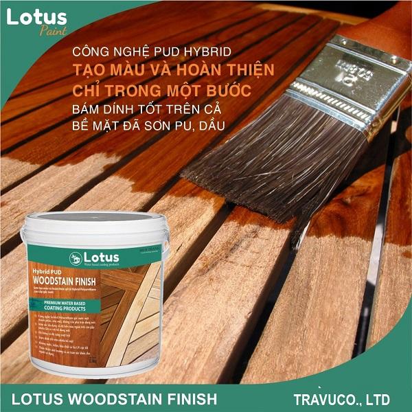Sơn tạo màu gỗ và đồng thời phủ bóng Lotus Wood Stain Finish