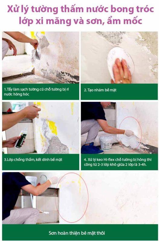 Hướng dẫn xử lý vết nứt chống thấm bằng keo hi-flex