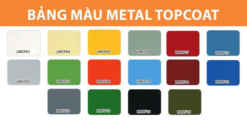 bảng màu sơn sắt metal topcoat